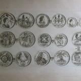 Gravura circa 1820 monede Ungaria Imparatul Iosif I