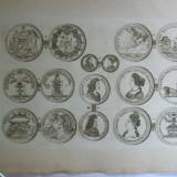Gravura circa 1820 monede Ungaria Imparatul Leopold I Imparateasa Magdalena Theresa Imparatul Iosif I Arhiducele Carol II