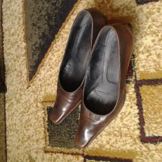 Pantofi dama piele - Pantof dama Made in Italia, Marime: 39, Culoare: Maro, Maro