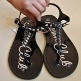 Sandale dama, Marime: 38.5, Negru - Sandale de guma cu tinte
