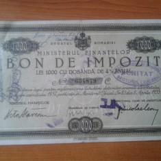 BON DE IMPOZIT 1000 DE LEI 1932 UNC - Cambie si Cec