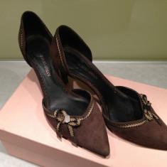 Pantofi dama, Marime: 37.5, Maro - PANTOFI GIORGIO ARMANI, PIELE INTOARSA MARO, 37