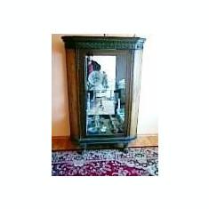 Vitrina Vieneza cu Oglinda din Cristal Argintata din 1870 - Vitrina living