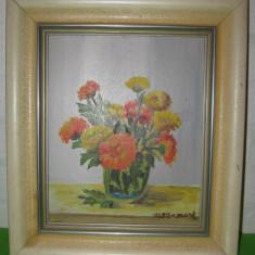 VAZA CU FLORI, veche PICTURA IN ULEI semnata M. Stenmark / tablou - Pictor strain