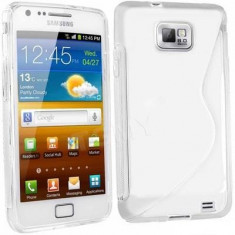 Husa Samsung Galaxy S2 i9100 i9105 s2 plus + folie + stylus, Transparent, Gel TPU