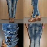 Smagli jeans, blugi dama, Bleumarin, Marime: 42