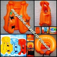 Snorkeling - VESTA PVC NONTOXIC PORTOCALIE GONFLABILA INOT pentru COPII SUPORT CAP GULER 3 CAMERE AER 2 VALVE CURELE SIGURANTA PISCINA BAZIN MARE ORANGE SWIM VEST