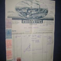 Act vechi 1939, factura- Fabrica de Palarii- R.Decker Co. SA-Jimbolia-30_22cm. Stare buna.