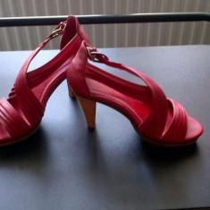 Sandale platforma rosii masura 38-39 - Sandale dama, Marime: 38.5, Culoare: Rosu, Rosu