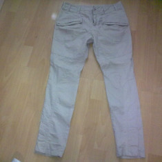 Pantaloni dama, Lungi, Bej, Marime: 36 - Pantaloni cu tur lasat Zara TRF