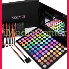 Trusa machiaj profesionala 96 culori MAC farduri mate sidefate + Set 7 pensule - Trusa make up Mac Cosmetics