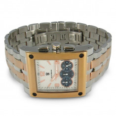 CEAS de LUX super ceas POLITI OROLOGI chronograph placat cu AUR, mecanism japonez CITIZEN-MIYOTA, 5ATM WATER RESISTANT, nou CUTIE - Ceas barbatesc Police, Lux - elegant, Quartz, Cronograf