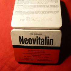 Cutie Reclama - Cutie metalica veche de medicamente Neovitalin - Elvetia