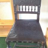 Mobilier, Scaune - Scaun din lemn cu piele - Model antic