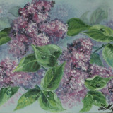 "Tablou ""Liliac"" pictura in acrilic pe carton panzat, 30x25 cm - Pictor roman, Altul"