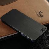 Husa iPhone 4, 4s lux - 100% aluminiu finisat, 0.3 mm grosime, nu piele, neagra - Husa Telefon Apple, Negru, Metal / Aluminiu
