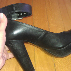 Pantofi comozi cu toc gros - Sandale dama, Marime: 37, Culoare: Negru