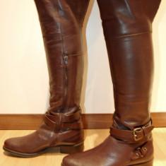 NOU! Cizme elegante peste genunchi pentru femei din piele naturala 100% - Cizme dama, Marime: 39, 41, Culoare: Maro, Negru