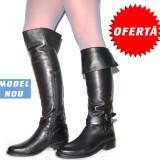 Pret cu Reducere: Cizme peste genunchi pentru femei din piele 100% - Cizme dama, 39, 41, Maro, Negru