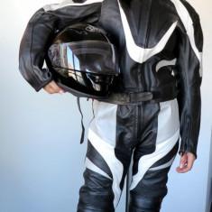 Combinezon, costum moto piele, negru-alb-gri, nou, unisex, poze reale - Imbracaminte moto Nespecificat, Combinezoane
