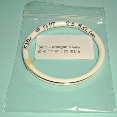5 Mtr. Sarma manganina, Manganin wire, Rezistenta precizie, Diametrul 0.17mm