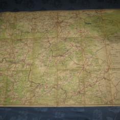 Colectii - Harta militara veche interbelica Belgia pe panza cauciucata, stare buna.