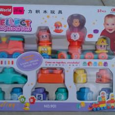 Set constructie trenulet - Jucarie carucior copii, Unisex, Plastic