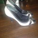 Pantofi Thea Visconti, din piele si material textil, purtati o singura data, mar.38 - Pantofi dama, Culoare: Negru, Negru