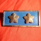 Insigna veche- Placa cu 2 stele, metal argintat si email, L= 5, 4 cm