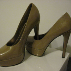Pantofi dama, Marime: 38, Crem - PANTOFI CU TOC SI PLATFORMA