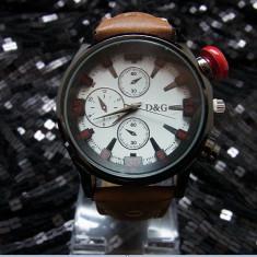 Ceas Barbatesc Dolce & Gabbana - Ceas d&g curea maro perforata cutie metalica dolce and gabbana
