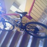 Mountain Bike, Numar viteze: 18, Carbon, Negru-Gri-Portocaliu, Discuri, Cu amortizor - Vand bicicleta Decathlon Rockrider full suspension