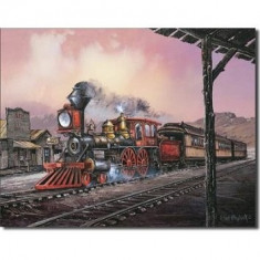 21.Reclama metalica vintage - Locomotiva cu abur - Cutie Reclama