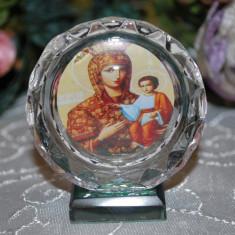 Marturii nunta/botez Iconita MEDIE pe rotund cristal, model deosebit, CEL MAI MIC PRET DE PE PIATA Icoana marturie sticla
