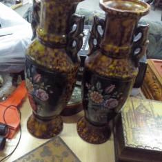 Arta Ceramica - Vaze 2 pictate flori frumoase minim 25 cm inaltime italia vechi
