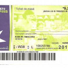 TICHET DE MASA / 2013. - Cambie si Cec