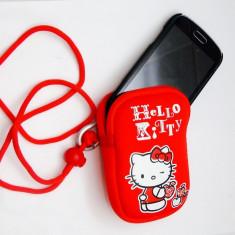 Husa neopren HELLO KITTY, husa universala pentru telefon, aparat foto, portofel, Rosu, Cu snur, Saculet