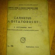 Carnetul agitatorului - nr. 58. 2 octombrie 1949, Ziua Internationala a luptei pentru pace - Directiunea Propagandei si Agitatiei, PMR, comunism
