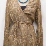 Bluza de matase cu imprimeu oriental - Bluza dama, Culoare: Multicolor, M/L, Maneca lunga, Multicolor