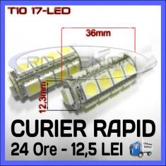 BEC AUTO LED LEDURI POZITIE T10 (W5W) - 17 SMD - POZITII, PLAFONIERA, NUMAR - Led auto ZDM, Universal
