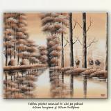 Tablou sepia- Peisaj pe canal (1) - 50x60cm, livrare gratuita in 24-48h - Pictor roman, An: 2014, Peisaje, Ulei, Altul