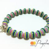 Bratara cu margele multicolore si charm libelula, elastica