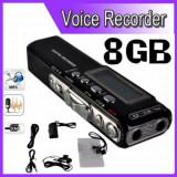 Reportofon Digital Profesional 8GB, 850 ORE inregistrare, Activare Vocala+CADOU!