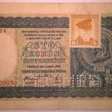 Bancnota Straine - Bancnota - Republica Cehoslovaca - 100 Korun 1945 - Cu timbru - Specimen