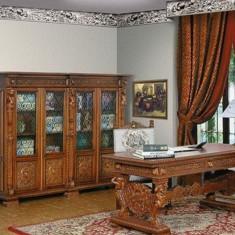 Cabinet de lucru / Birou de arta sculptat manual Renastere Italiana nou in cutie