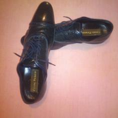 Pantofi barbati, Piele naturala - Pantofi Cesare Paciotti, marimea 43, negri, made in Italy, ieftini.
