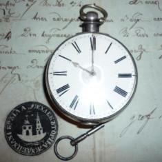 Ceas de buzunar din argint 1845 mecanism VERGE FUSEE perfect functional!!!