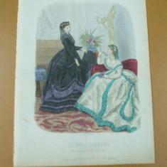 Revista moda - Moda costum rochie palarie evantai gravura color La mode illustree Paris 1868