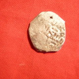 Moneda Medievala, Asia, An: 1700 - Moneda Turcia -Dirham argint, secXVII, gaurita, folosita ca pandant d= 2, 1 cm