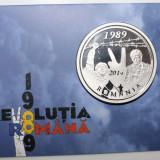 MEDALIE DIN TOMBAC ARGINTAT CU INSERTIE, DEDICATA IMPLINIRII A 25 ANI DE LA REVOLUTIE.PROOF. - Medalii Romania, An: 2014